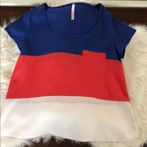 Blue/Red/White Large Striped Pocket Blouse